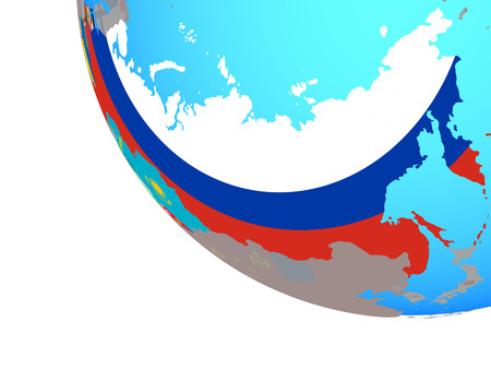 Former Soviet Union with national flags on simple globe. 3D illustration. Stock Photo