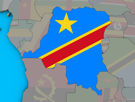 Dem Rep of Congo with embedded national flag on blue political 3D globe. 3D illustration.
