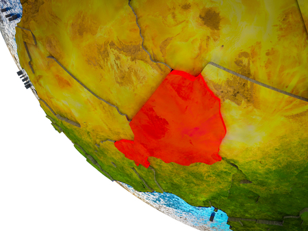 Niger on model of Earth with country borders and blue oceans with waves. 3D illustration.