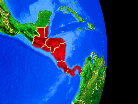 Central America on realistic model of planet Earth with country borders and very detailed planet surface. 3D illustration.