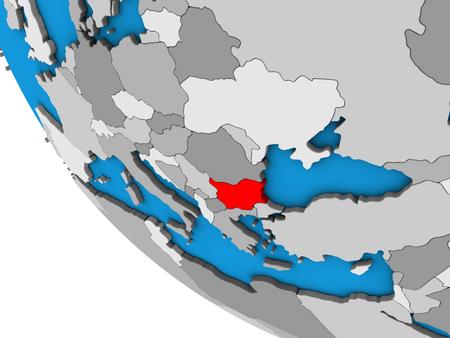 Bulgaria on simple 3D globe. 3D illustration.