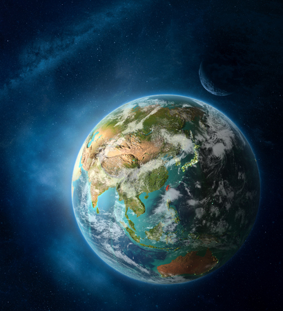 Taiwan from space on Earth surrounded by space with Moon and Milky Way. Detailed planet surface with city lights and clouds. 3D illustration. Stockfoto