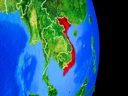 Vietnam on realistic model of planet Earth with country borders and very detailed planet surface. 3D illustration.