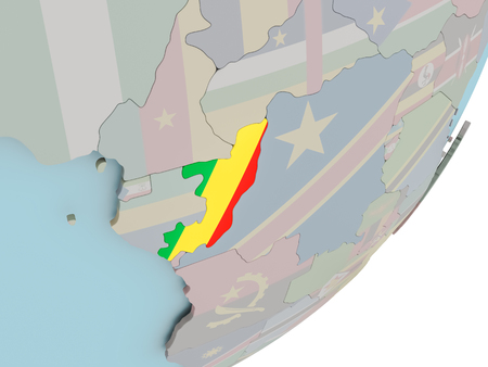 3D render of Congo on political globe with embedded flag. 3D illustration. Standard-Bild - 113716335