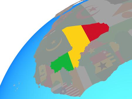 Mali with embedded national flag on globe. 3D illustration.