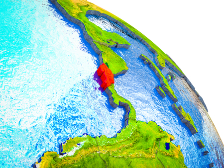 Costa Rica Highlighted on 3D Earth model with water and visible country borders. 3D illustration. 版權商用圖片