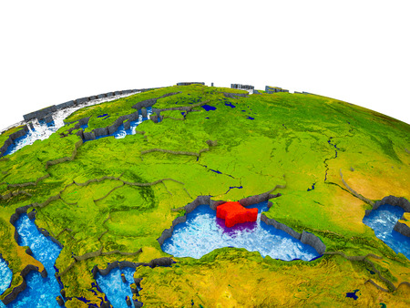 Crimea on 3D Earth with visible countries and blue oceans with waves. 3D illustration.