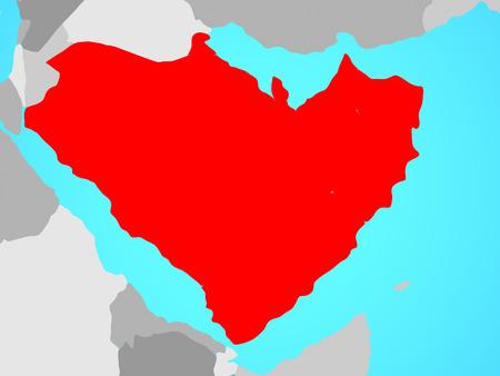 Arabia on blue political globe. 3D illustration. 스톡 콘텐츠
