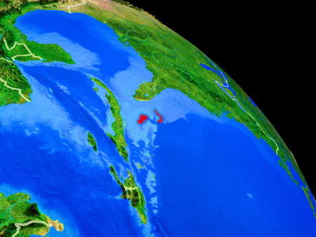 Bahamas on planet Earth from space with country borders. Very fine detail of planet surface. 3D illustration.