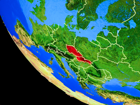 Former Czechoslovakia on realistic model of planet Earth with country borders and very detailed planet surface. 3D illustration. 写真素材 - 113717241