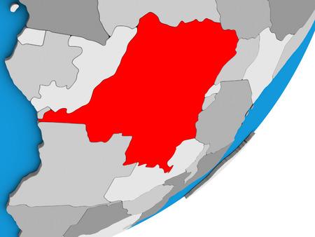 Dem Rep of Congo on blue political 3D globe. 3D illustration.