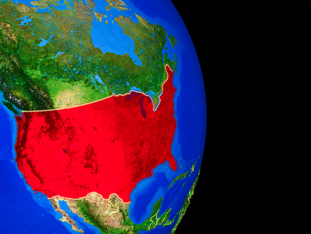 USA on realistic model of planet Earth with country borders and very detailed planet surface. 3D illustration.