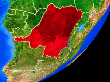 Dem Rep of Congo on planet Earth with country borders and highly detailed planet surface. 3D illustration.