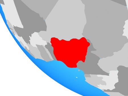 Nigeria on simple globe. 3D illustration.