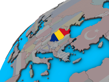 Romania with national flag on 3D globe. 3D illustration. Imagens