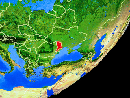 Moldova on planet Earth with country borders and highly detailed planet surface. 3D illustration. Stock Illustration - 113389650