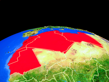 Maghreb region on model of planet Earth with country borders and very detailed planet surface. 3D illustration.