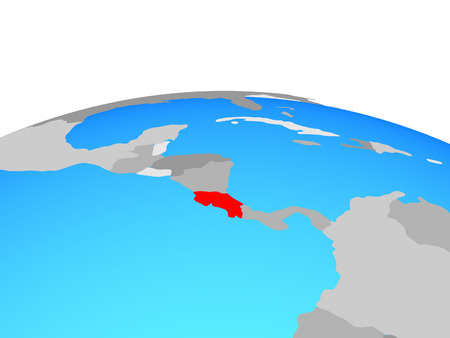 Costa Rica on political globe. 3D illustration.