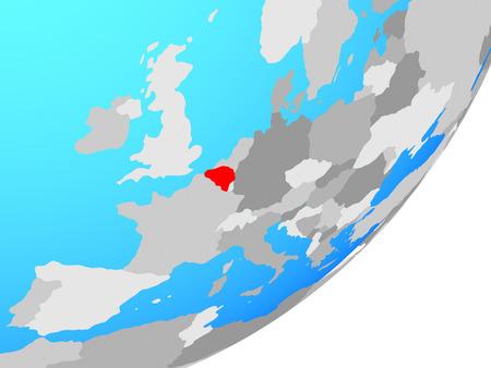 Belgium on blue political globe. 3D illustration.