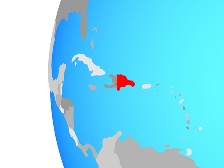 Dominican Republic on blue political globe. 3D illustration.
