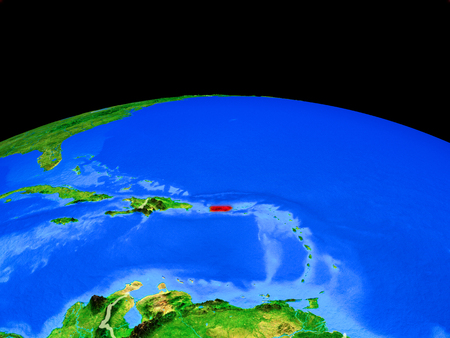 Puerto Rico on model of planet Earth with country borders and very detailed planet surface. 3D illustration.