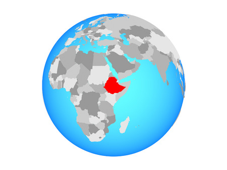 Ethiopia on blue political globe. 3D illustration isolated on white background. Banque d'images - 113388313
