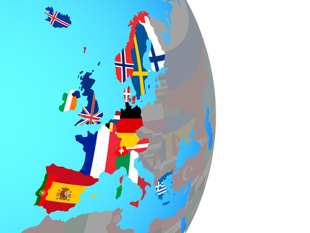 Western Europe with national flags on simple political globe. 3D illustration.