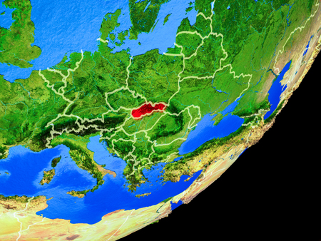 Slovakia on planet Earth with country borders and highly detailed planet surface. 3D illustration.