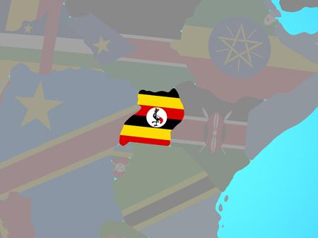 Uganda with national flag on blue political globe. 3D illustration.