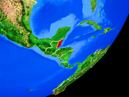 Belize on planet Earth with country borders and highly detailed planet surface. 3D illustration.