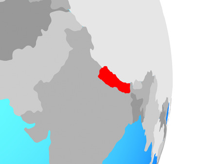 Nepal on simple political globe. 3D illustration.