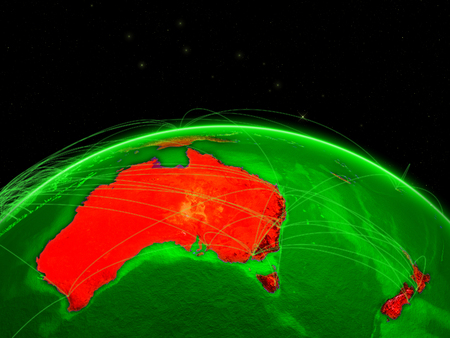 Australia on green Earth in space with networks representing intercontinental air traffic or telecommunication network. 3D illustration.