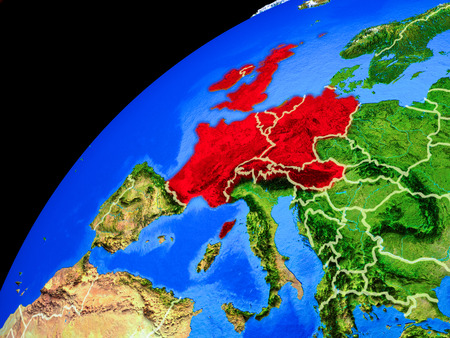 Western Europe from space. Planet Earth with country borders and extremely high detail of planet surface. 3D illustration.