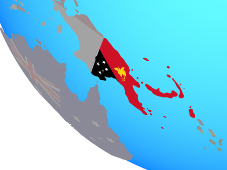 Papua New Guinea with national flag on simple globe. 3D illustration.