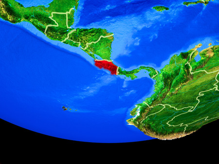 Costa Rica from space on model of planet Earth with country borders. 3D illustration.