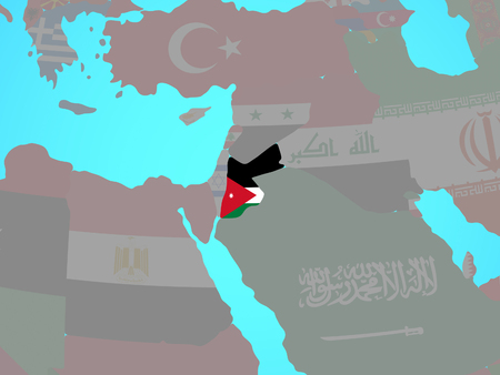 Jordan with national flag on blue political globe. 3D illustration.