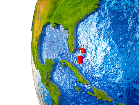 Bahamas highlighted on 3D Earth with visible countries and watery oceans. 3D illustration. Stock Photo