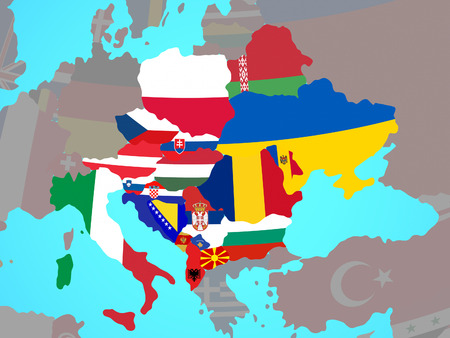 CEI countries with national flags on blue political globe. 3D illustration. 写真素材