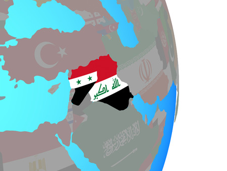 Islamic State with national flags on simple political globe. 3D illustration.