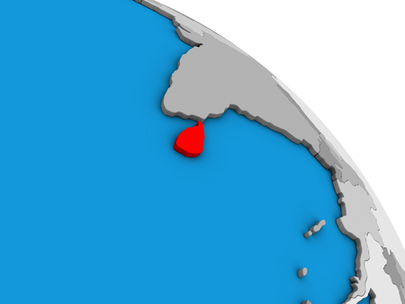 Sri Lanka on simple blue political 3D globe. 3D illustration.