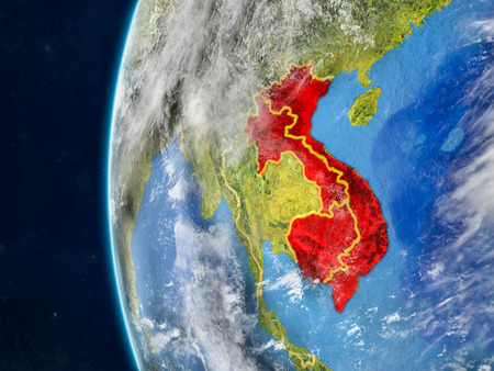 Indochina from space on model of planet Earth with country borders and very detailed planet surface and clouds. 3D illustration.