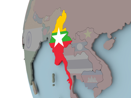 Myanmar with embedded flag on political globe. 3D illustration. Imagens