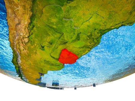 Uruguay on 3D Earth with divided countries and watery oceans. 3D illustration.
