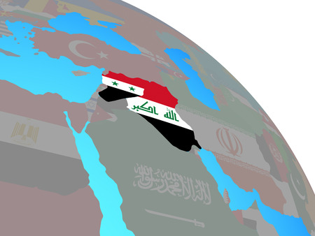 Islamic State with national flags on simple blue political globe. 3D illustration.