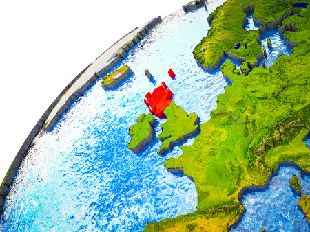 Scotland on 3D Earth model with visible country borders. 3D illustration.
