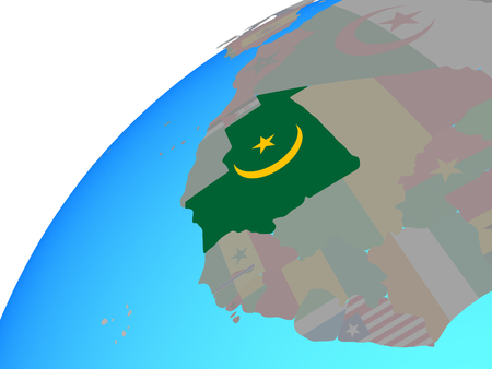 Mauritania with embedded national flag on globe. 3D illustration.