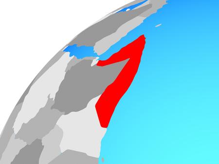 Somalia on globe. 3D illustration.