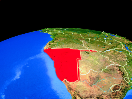 Namibia on model of planet Earth with country borders and very detailed planet surface. 3D illustration.