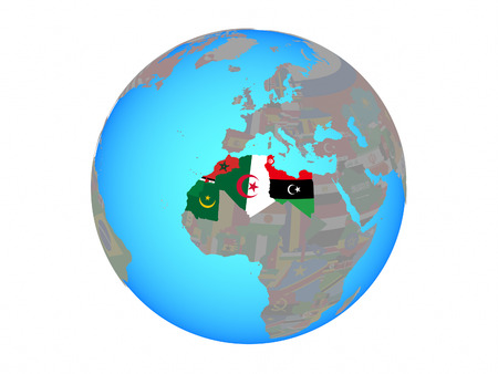 Maghreb region with national flags on blue political globe. 3D illustration isolated on white background. Фото со стока