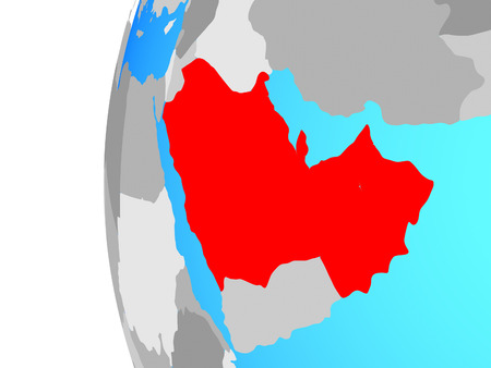 CCASG countries on blue political globe. 3D illustration. 스톡 콘텐츠